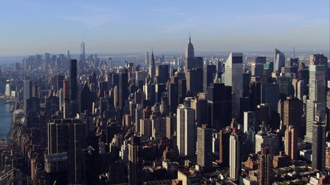 Aerial sunrise New York City skyline view of lower and Midtown Manhattan.