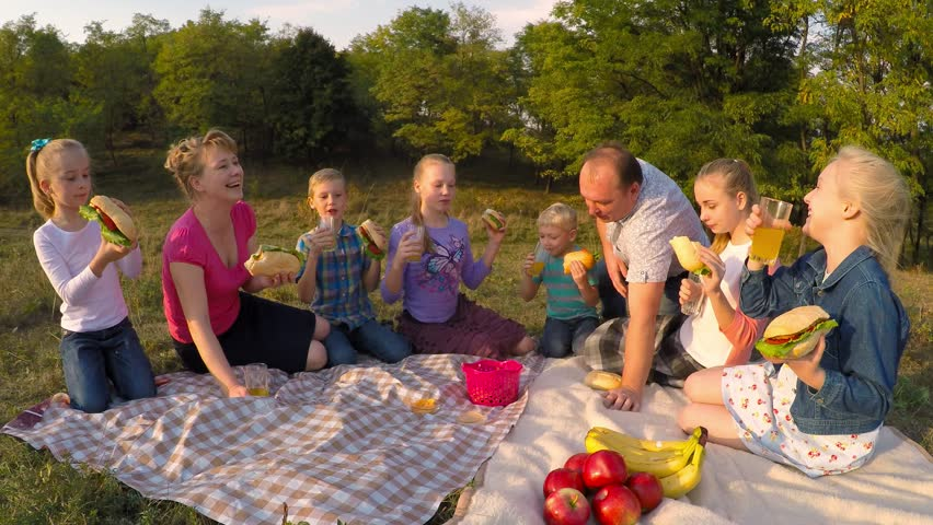 Parents And Six Children Sit On Meadow Eating Burgers Wide Shot Sunny Day