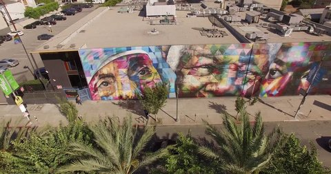 LOS ANGELES - October 07, 2015: Aerial view street art mural by Eduardo Kobra, featuring humanitarians civil rights activists, Mother Teresa, Nelson Mandela and Martin Luther King Jr. on Highland Ave