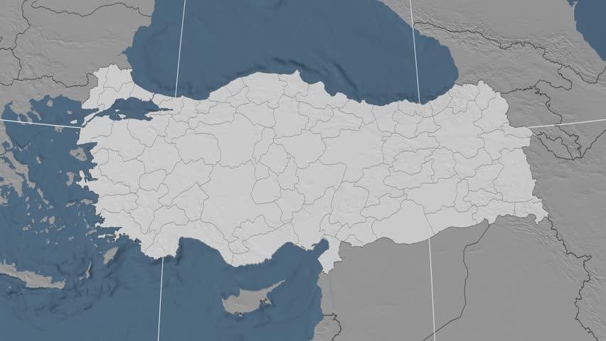 Burdur Region Extruded On The Elevation Map Of Turkey Elevation