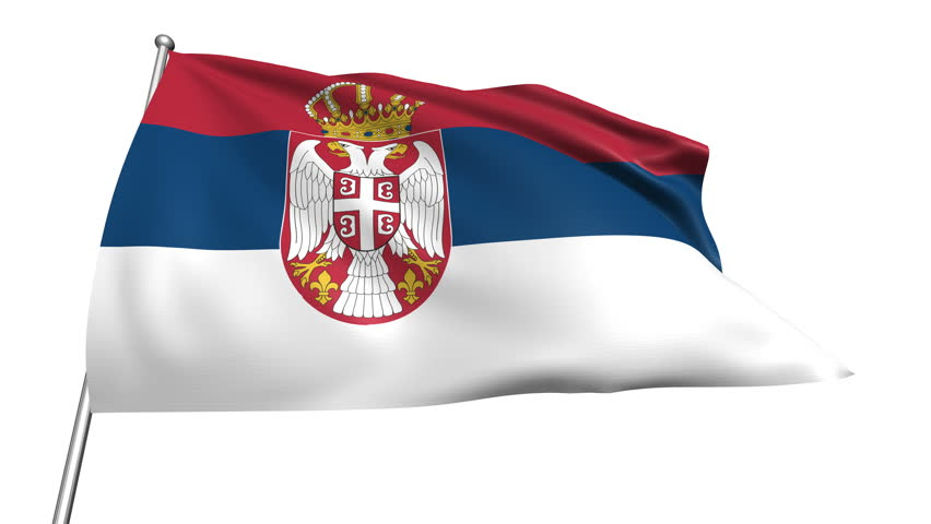 Flag Of Serbia Waving With Fabric Texture stock photo 612518610 ...