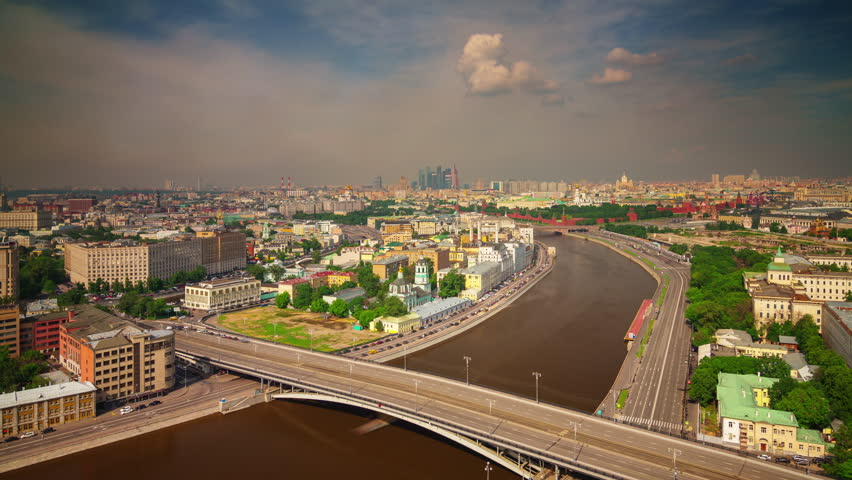 Moscow river sunny day roof top city panorama 4k time lapse russia | Shutterstock HD Video #12179504