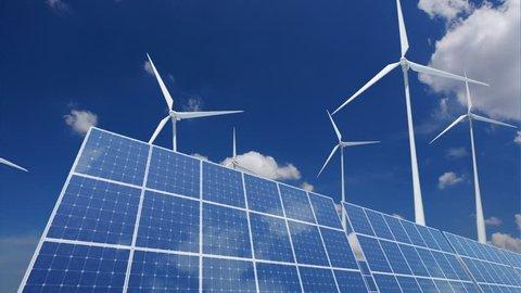 Solar Panels and Wind Turbines.