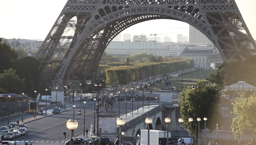 Traffic in Paris city center near Eiffel tower | Shutterstock HD Video #12207746