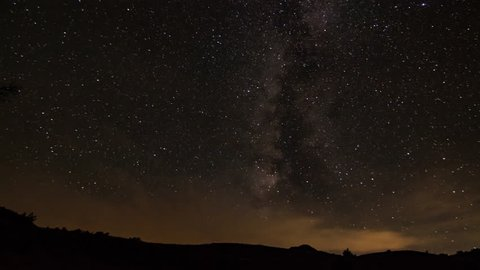 Milky Way Starlapse Over Desert Canyon Rim