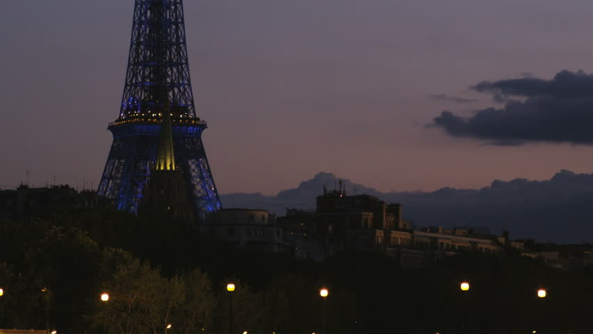 Paris-France - 08,12,2004: Paris cityscape at night | Shutterstock HD Video #12252146
