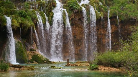 Lakes with waterfall in Croatia Europe. Location: Plitvice National Park Plitvicka jezera. 4k