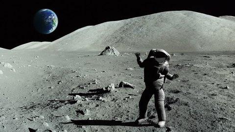 Astronaut dancing on the moon
