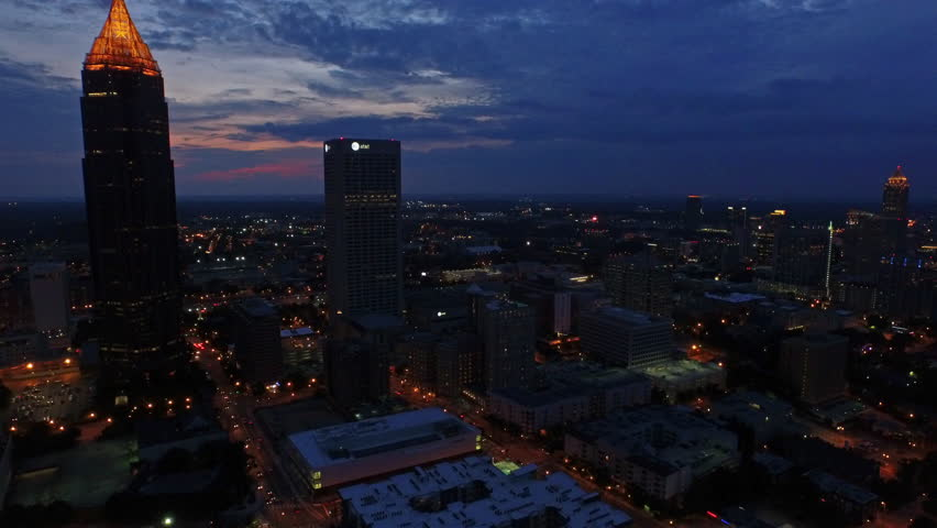 Atlanta Georgia. June 25th 2015. Aerial video of Atlanta Georgia at night.