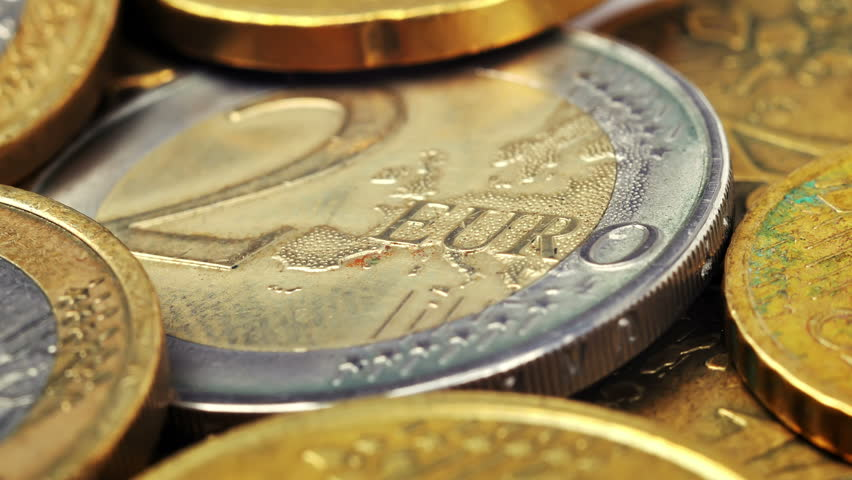 Two Euro coin and many coins, close up | Shutterstock HD Video #12396476
