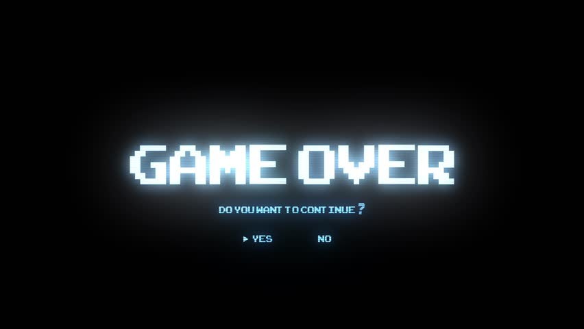 GAME OVER DO YOU WANT TO CONTINUE / GAME OVER CONTINUE ARCADE / GAME OVER TEXT ASKING DO YOU WANT TO CONTINUE IN LIGHT BLUE COLOR