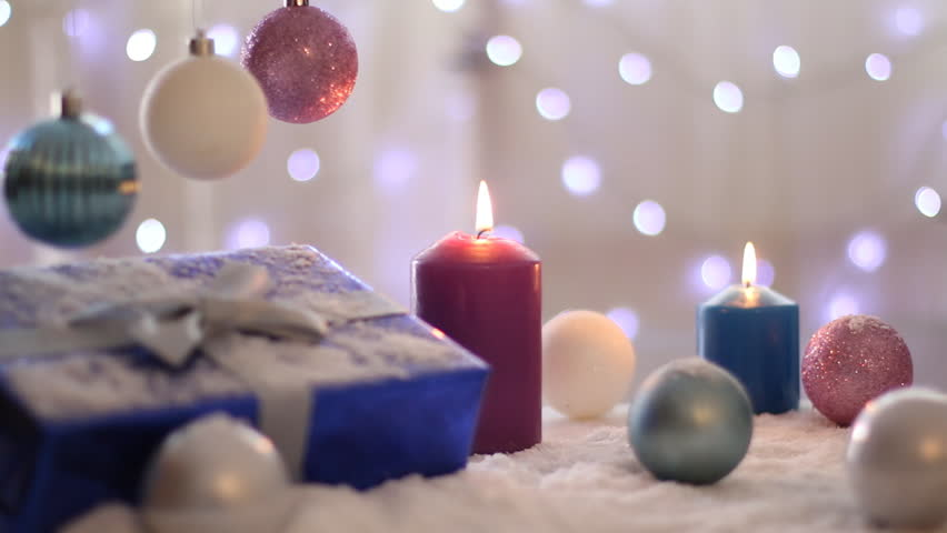 Christmas Decoration With Balls Gift And Candles Background Lights