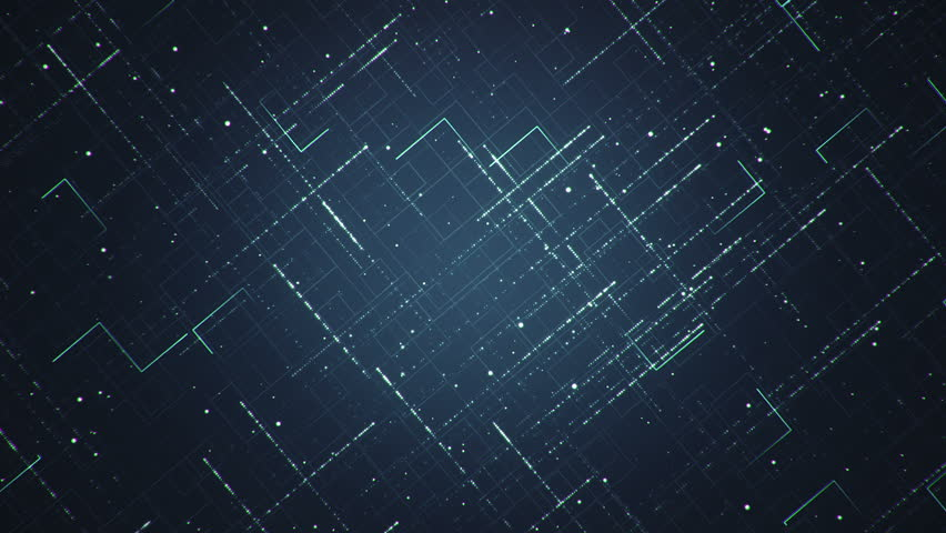 Abstract technologic background with stripes and particles. Animation of seamless loop.