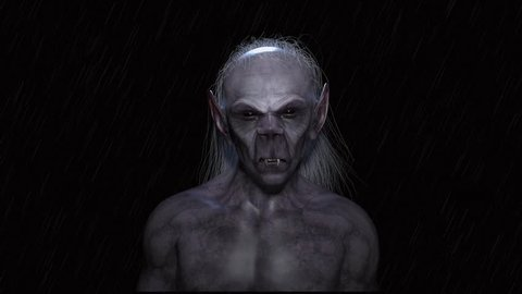 An unwelcome encounter with a very old vampire on a rainy night. High quality 3D rendering.