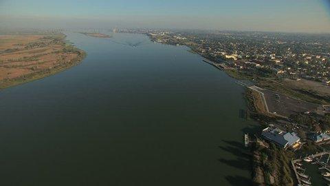 Aerial USA San Francisco Bay Antioch Park Wildlife wetlands