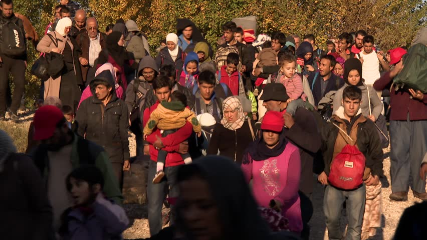 Dramatic pictures from the Slovene refugee camp. Many children suffer from end exhaustion because,the long walking. Into Slovenia daily cca 10000 refugees arrive. 25.10.2015 Slovenia Brezice;
