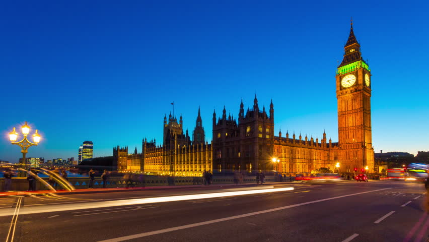 Time lapse footage of rush hour traffic on Westminster Bridge in London with Houses of Parliament and Big Ben in the background, London, England, United Kingdom | Shutterstock HD Video #12453503