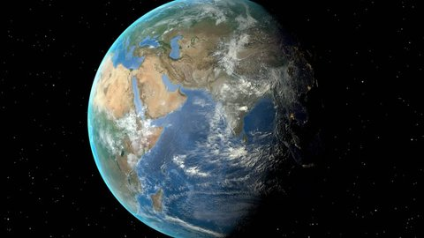 Night to day - rotating Earth. Zoom in on Saudi Arabia outlined. Satellite high resolution (86400 px) raster used. Elements of this image furnished by NASA.