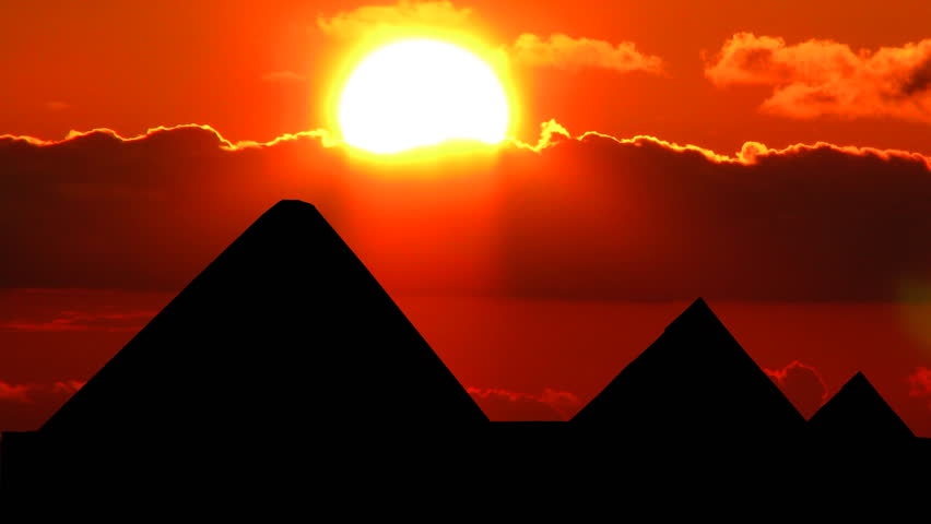 Beautiful sunset behind the pyramids.