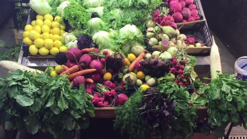 Vegetables display in Besiktas bazaar, Istanbul. | Shutterstock HD Video #12561386