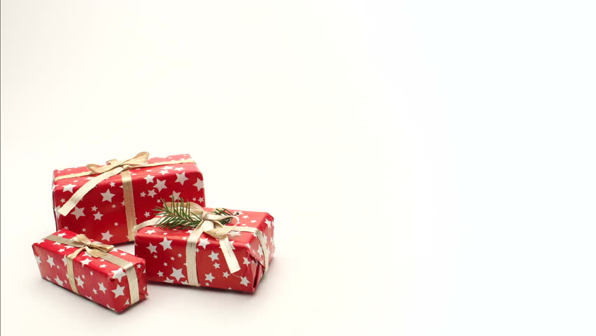 Christmas Gifts Moving On White Stock Footage Video (100