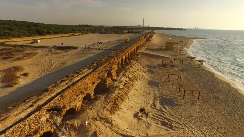 CAESAREA, ISRAEL - Gorgeous 4k view of the Roman aqueduct by the Mediterranean Sea. Filmed with a DJI Inspire drone.