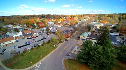 Small town aerial, looking at daily life in upstate NY village, Millbrook.in the fall.