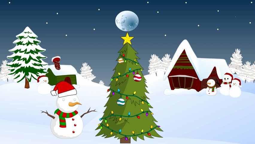 Cartoon Animation, Snow, Winter,snowmen On The Streets, Christmas Tree With  Decorations, New Yearu0027s Eve, Winter Landscape, Small Fairy Houses,Christmas  Tree ...