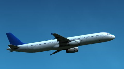 Unidentified air liner flying in blue sky