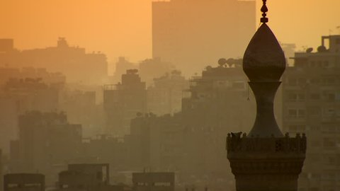 The skyline of Cairo, Egypt, at dusk