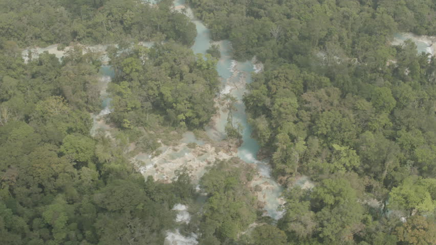 AERIAL WS Tranquil view of river and green forest - Mexico, Chiapas, Agua Azul