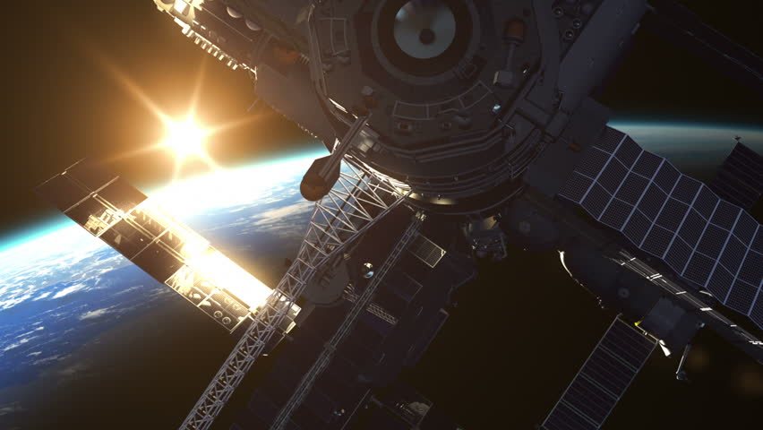 Flight Of Space Station On The Background Of The Rising Sun. 3D Animation.