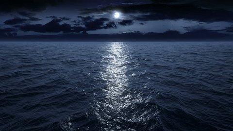 Flying over the ocean at night. Facing the moon. Full HD