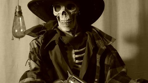 Skeleton Cowboy Pistol Old West Pull Back. Old west bandit outlaw skeleton at a poker table with a pistol and bourbon, edited in vintage film style. Slider shot, zoom out.