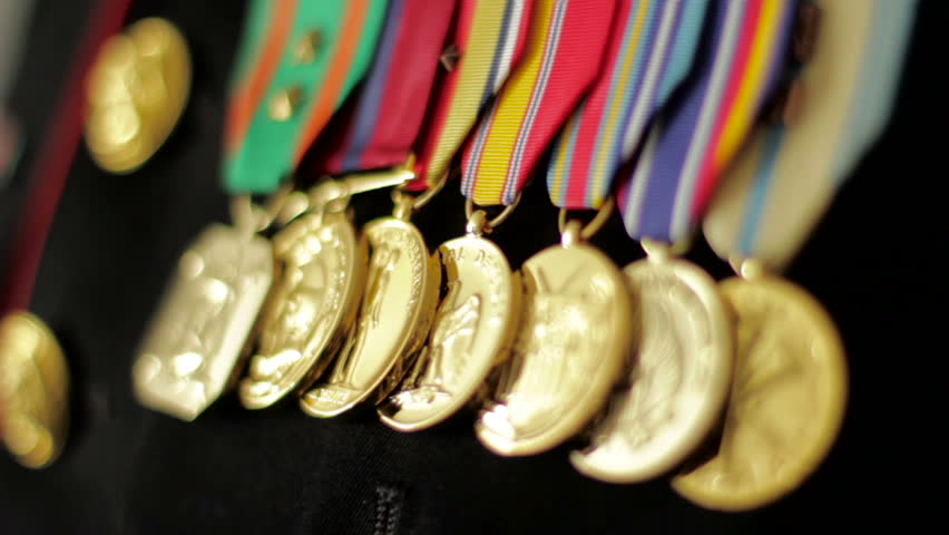 Close up of medals on a Marine's uniform