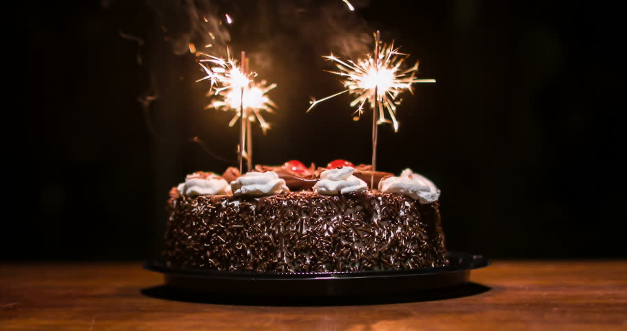 Chocolate Cake Images Birthday With Candles : Lighted Candles On A Happy Birthday Cake. Candles With The ...