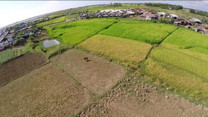 Arial view Rohingya camp in Sittwe District ,Myanmar.