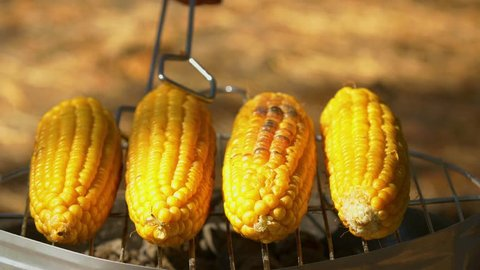 Healthy vegetarian delicious barbecue with ripe golden corn and turn it around by using barbeque tongs