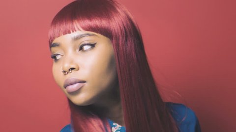 Beautiful young black woman fashion model photoshoot