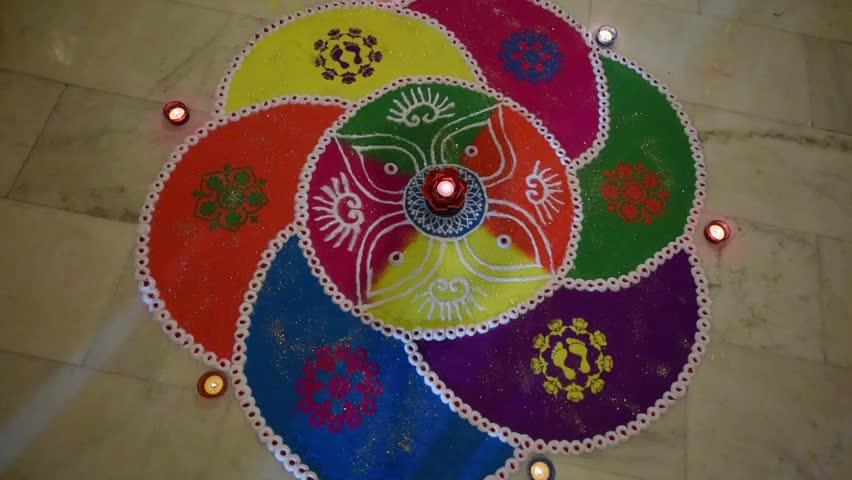 Hd00 39traditional Rangoli Design Created On The Floor A Folk Art From