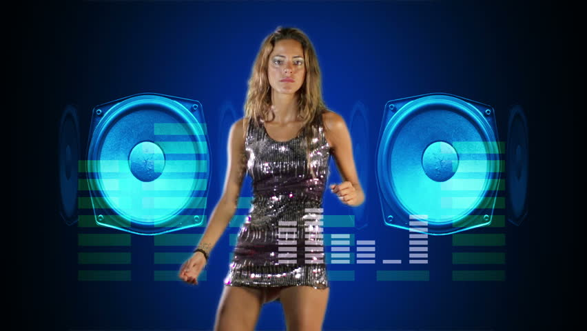 a sexy woman dancing shot against green chroma screen, with audio speakers and motion graphics ovelayed