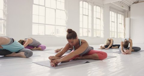 Yoga class multi racial group of women exercising healthy lifestyle in fitness studio wild thing poses