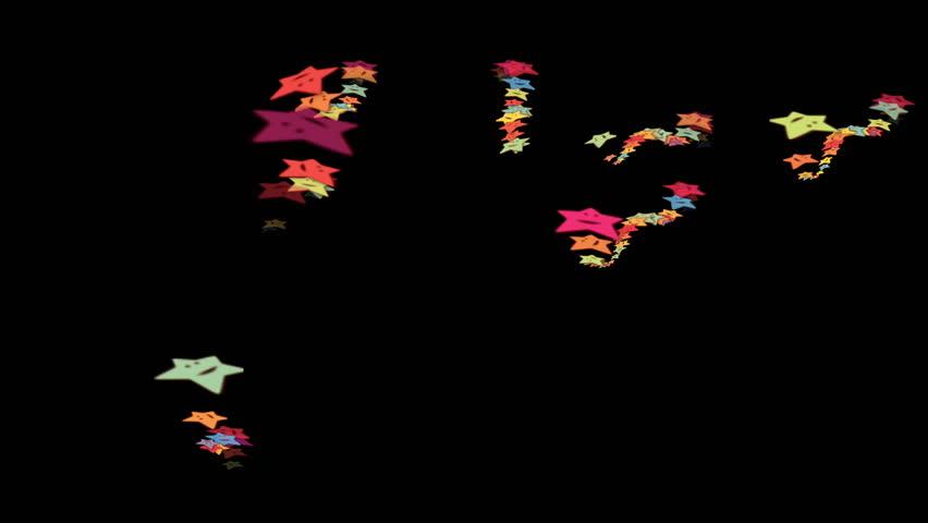 4k Cartoon smile face stars background,Five-pointed star,fireworks firecrackers particles,festivals celebration,color toys wedding paper backdrop. 2130_4k