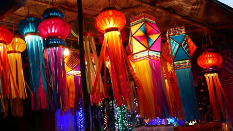 4K time lapse footage of Traditional lantern close ups on street side shops on the occasion of Diwali festival in Mumbai, India.