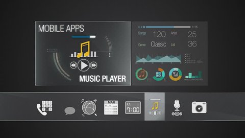 Player icon for mobile application contents.Various application function for smart device.Digital display application.(included Alpha)