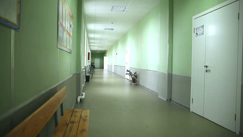 School Empty Corridor Interior Green Wall To The Right Classes