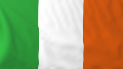 Flag of Ireland, slow motion waving. Rendered using official design and colors. Highly detailed fabric texture. Seamless loop in full 4K resolution. ProRes 422 codec.