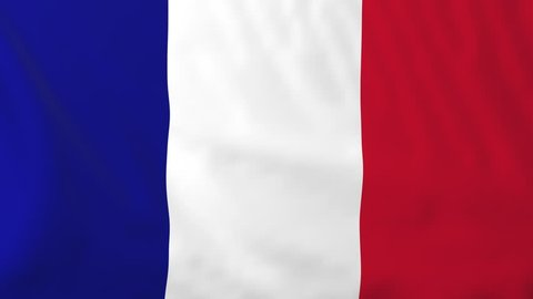 Flag of France, slow motion waving. Rendered using official design and colors. Highly detailed fabric texture. Seamless loop in full 4K resolution. ProRes 422 codec.