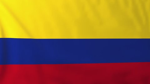Flag of Colombia, slow motion waving. Rendered using official design and colors. Highly detailed fabric texture. Seamless loop in full 4K resolution. ProRes 422 codec.