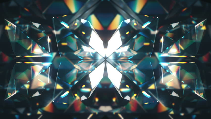 Eight colourful tilted diamonds rotating on a colourful glassy background. Looping animation.